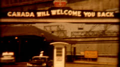 1960s old film Canada border sign vintage historic travel vacation memorable Stock Footage