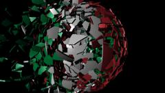 Italy flag sphere combining and breaking apart animation Stock Footage