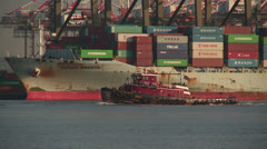Tugboat Moves Through Newark Bay 1 Stock Footage