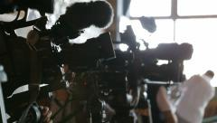 Video cameras in a row at press conference - stock footage