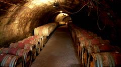 Wine barrels in cellar Stock Footage