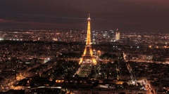 Paris - Eiffel Tower -Sunset 11. Beautiful scene. Magical Light 4K Stock Footage