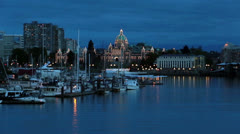 Victoria BC Canada Parliament Building marina night Stock Footage