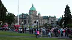 Victoria BC Canada Parliament Building tourist fast timelapse HD 7881 Stock Footage