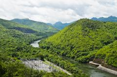 Scenic of srinakarin dam Stock Photos