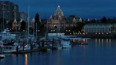 Victoria British Columbia Canada Parliament Building night HD 7915 Stock Footage