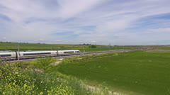 Landscape with high speed train Stock Footage