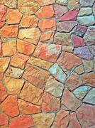 rough dry stone wall - stock photo