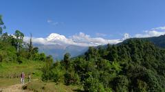 Trekking to Annapurna Base Camp, Pokhara Stock Photos