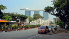 Street with views of the Marina Bay Stock Footage