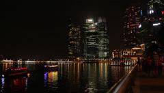 Boats on the Marina Bay Stock Footage