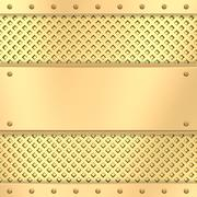 Blank golden plate on grid background with rivets Stock Illustration
