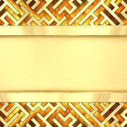 Blank golden plate on maze background with flame Stock Illustration
