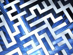 Metallic maze background with blue flame Stock Illustration