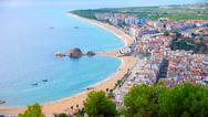Panorama view of blanes seaside and sa palomera rock in summertime Stock Illustration