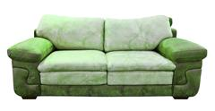 Green leather sofa isolated with clipping path Stock Photos
