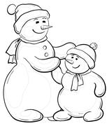 Snowmens mother and son, contours Stock Illustration