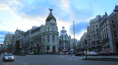 Gran Via, Spain, Madrid - Time lapse. Traffic rush hour. Stock Footage