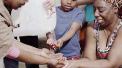 Stream of fresh water and the hands of people from a poor community Stock Footage