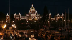 Victoria BC Canada Parliament Building marina at night HD 7941 Stock Footage