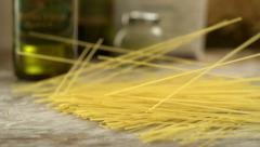 Spaghetti on table, Slow Motion - stock footage