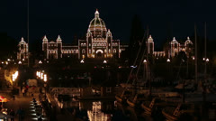 Victoria BC Canada Parliament Building marina night fast timelapse 7940 Stock Footage