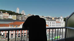 Despaired Man on Balcony 4 Stock Footage
