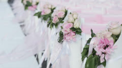 Decorated chairs for the wedding ceremony Stock Footage