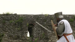 medieval crusader fighting 03 - stock footage
