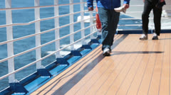 Group of people legs exercise walking cruise ship deck HD 7833 Stock Footage