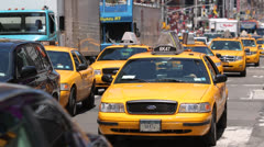 Yellow cabs car traffic in New York city Stock Footage
