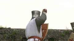 medieval crusader fighting 05 - stock footage