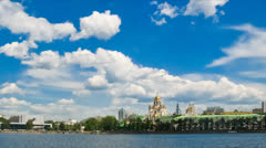 Church of All Saints and Iset River in Ekaterinburg. Russia Stock Footage