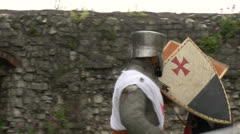 medieval crusader fighting 06 - stock footage