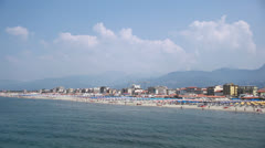 Beach Summer Holiday Viareggio Tuscany Italy Stock Footage