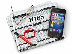 Stock Illustration of search job. newspaper with advertisments, glasses and mobile.