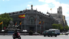 Plaza De Cibeles Madrid Spain Bank of Spain 8 Stock Footage