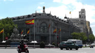 Stock Video Footage of Plaza De Cibeles Madrid Spain Bank of Spain 8
