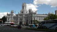 Stock Video Footage of Plaza De Cibeles Madrid Spain Palacio De Comunicaciones 1