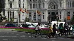 Plaza De Cibeles Madrid Spain Palacio De Comunicaciones 2 Stock Footage