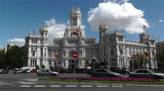 Plaza De Cibeles Madrid Spain Palacio De Comunicaciones 3 Stock Footage