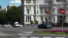 Plaza De Cibeles Madrid Spain Palacio De Comunicaciones 4 Stock Footage
