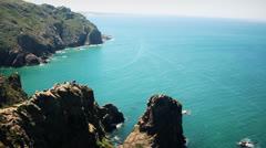 Hill sea landscape with people in Cape da Roca - Sintra, Portuga Stock Footage
