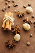 star anise, cinnamon sticks, nutmeg and coffee beans - stock photo