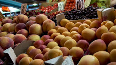 Fresh fruits in the Farmers market. Stock Footage