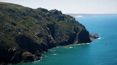 Nature hills and sea of Cape da Roca - Sintra, Portugal Stock Footage