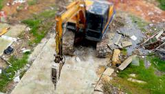Excavator breakers working Stock Footage
