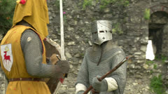 Medieval fighting slow motion yellow steel 02 Stock Footage