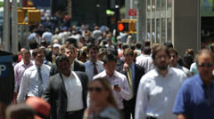 Crowd of commuter business people walking slow motion 25p - stock footage