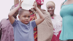 African villagers travel together to find water Stock Footage